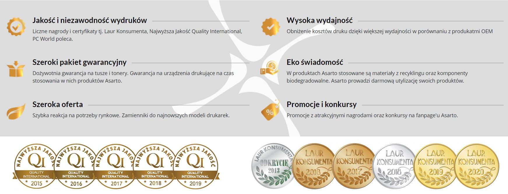 Certyfikaty tonerów i tuszy ASARTO